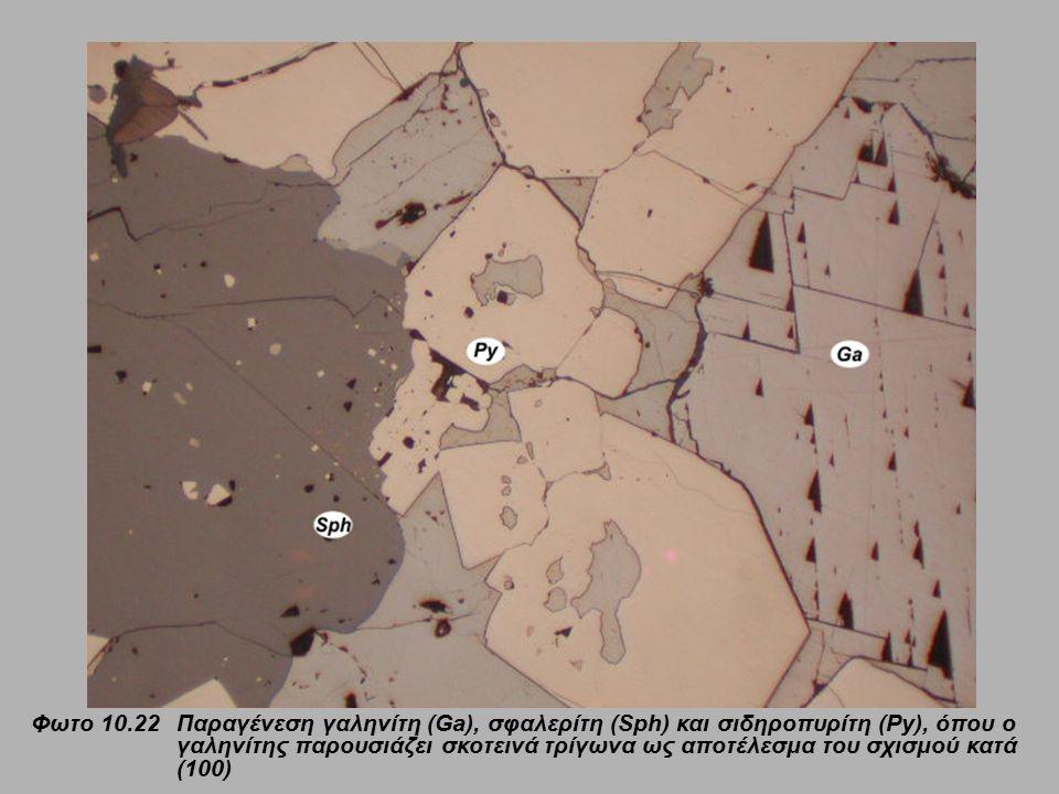 Φωτο 10.22 Παραγένεση γαληνίτη (Ga), σφαλερίτη (Sph) και σιδηροπυρίτη (Py), όπου ο γαληνίτης παρουσιάζει σκοτεινά τρίγωνα ως αποτέλεσμα του σχισμού κατά (100)