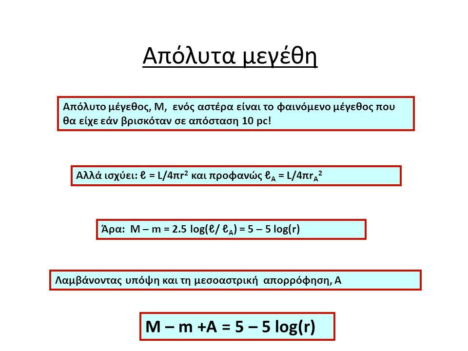 Απόλυτα μεγέθη M – m +Α = 5 – 5 log(r)