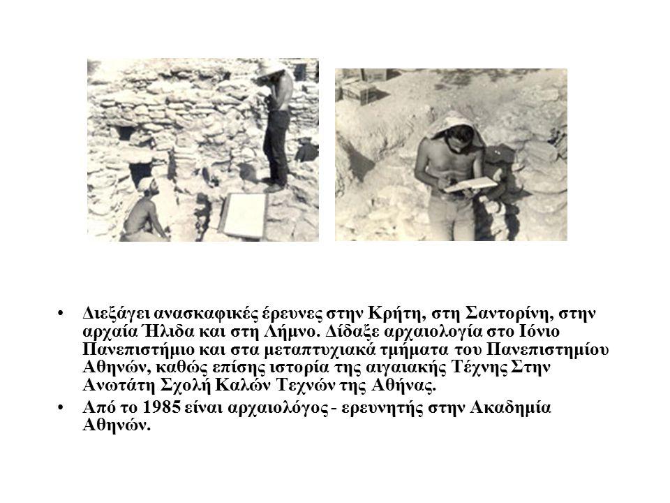 Διεξάγει ανασκαφικές έρευνες στην Κρήτη, στη Σαντορίνη, στην αρχαία Ήλιδα και στη Λήμνο. Δίδαξε αρχαιολογία στο Ιόνιο Πανεπιστήμιο και στα μεταπτυχιακά τμήματα του Πανεπιστημίου Αθηνών, καθώς επίσης ιστορία της αιγαιακής Τέχνης Στην Ανωτάτη Σχολή Καλών Τεχνών της Αθήνας.
