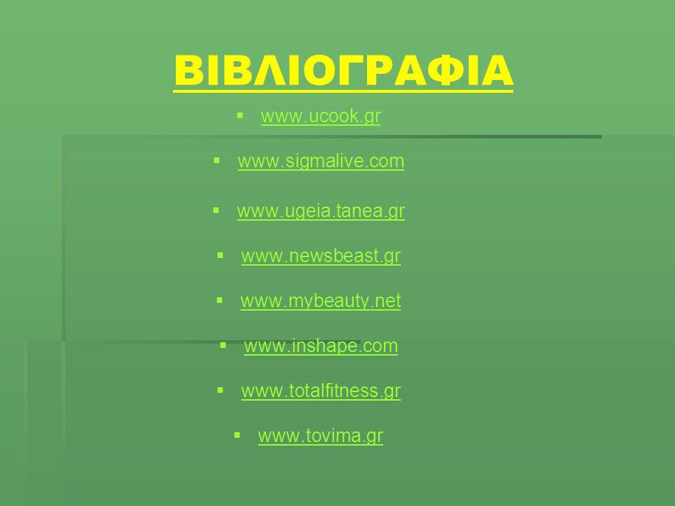 ΒΙΒΛΙΟΓΡΑΦΙΑ www.ucook.gr www.sigmalive.com www.ugeia.tanea.gr