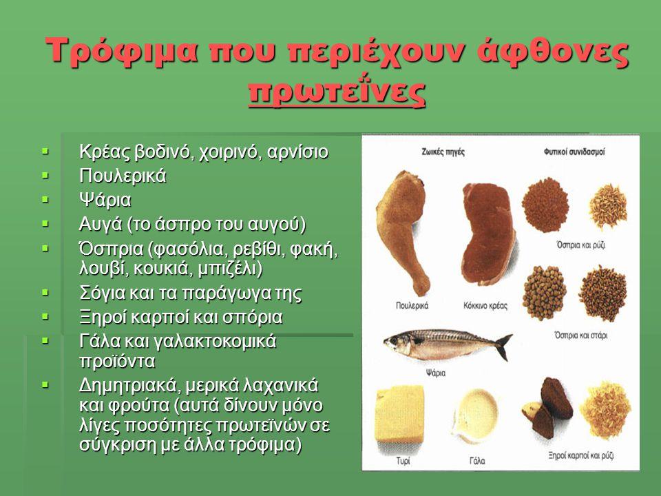 Τρόφιμα που περιέχουν άφθονες πρωτεΐνες