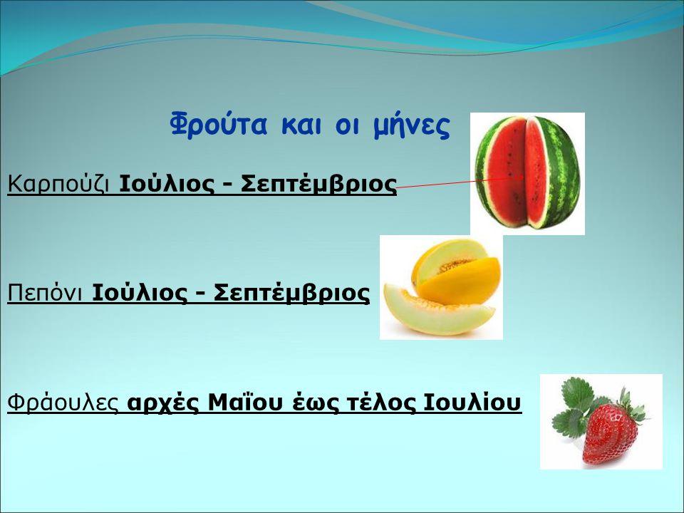 Φρούτα και οι μήνες Καρπούζι Ιούλιος - Σεπτέμβριος