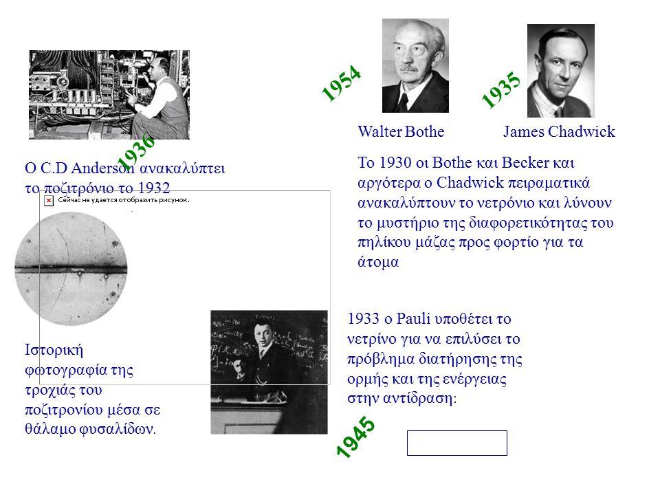 1954 1935 1936 1945 Walter Bothe James Chadwick