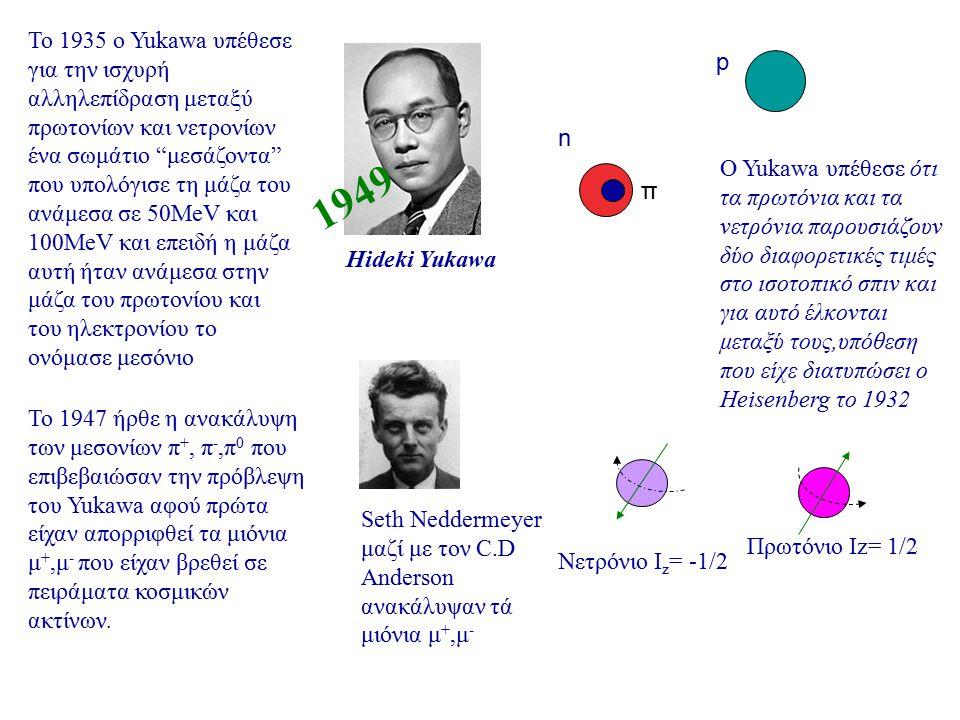 Το 1935 ο Yukawa υπέθεσε για την ισχυρή αλληλεπίδραση μεταξύ πρωτονίων και νετρονίων ένα σωμάτιο μεσάζοντα που υπολόγισε τη μάζα του ανάμεσα σε 50MeV και 100MeV και επειδή η μάζα αυτή ήταν ανάμεσα στην μάζα του πρωτονίου και του ηλεκτρονίου το ονόμασε μεσόνιο