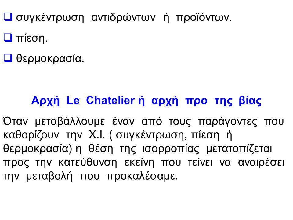 Αρχή Le Chatelier ή αρχή προ της βίας