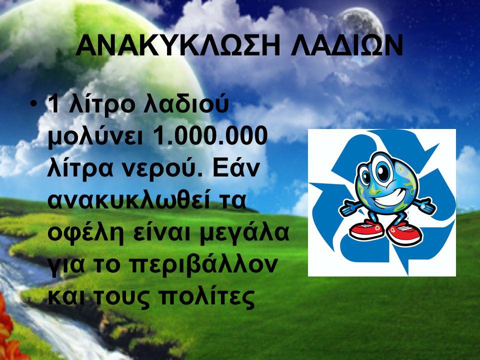 ΑΝΑΚΥΚΛΩΣΗ ΛΑΔΙΩΝ 1 λίτρο λαδιού μολύνει 1.000.000 λίτρα νερού.