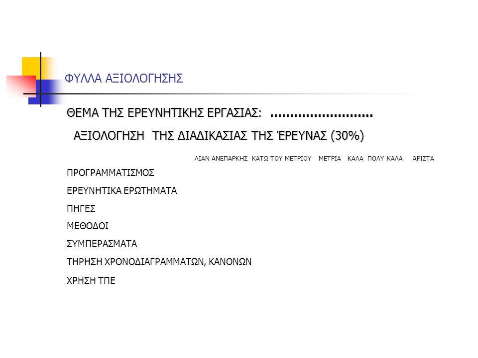 ΑΞΙΟΛΟΓΗΣΗ ΤΗΣ ΔΙΑΔΙΚΑΣΙΑΣ ΤΗΣ ΈΡΕΥΝΑΣ (30%)