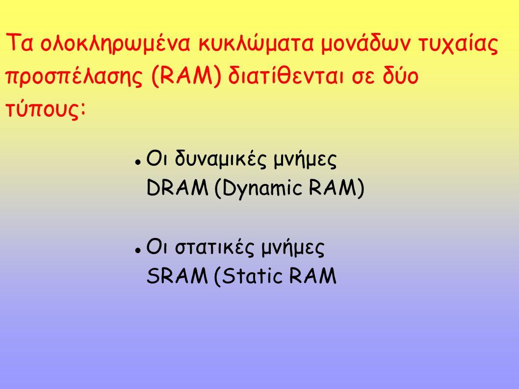 Τα ολοκληρωμένα κυκλώματα μονάδων τυχαίας προσπέλασης (RAM) διατίθενται σε δύο τύπους: