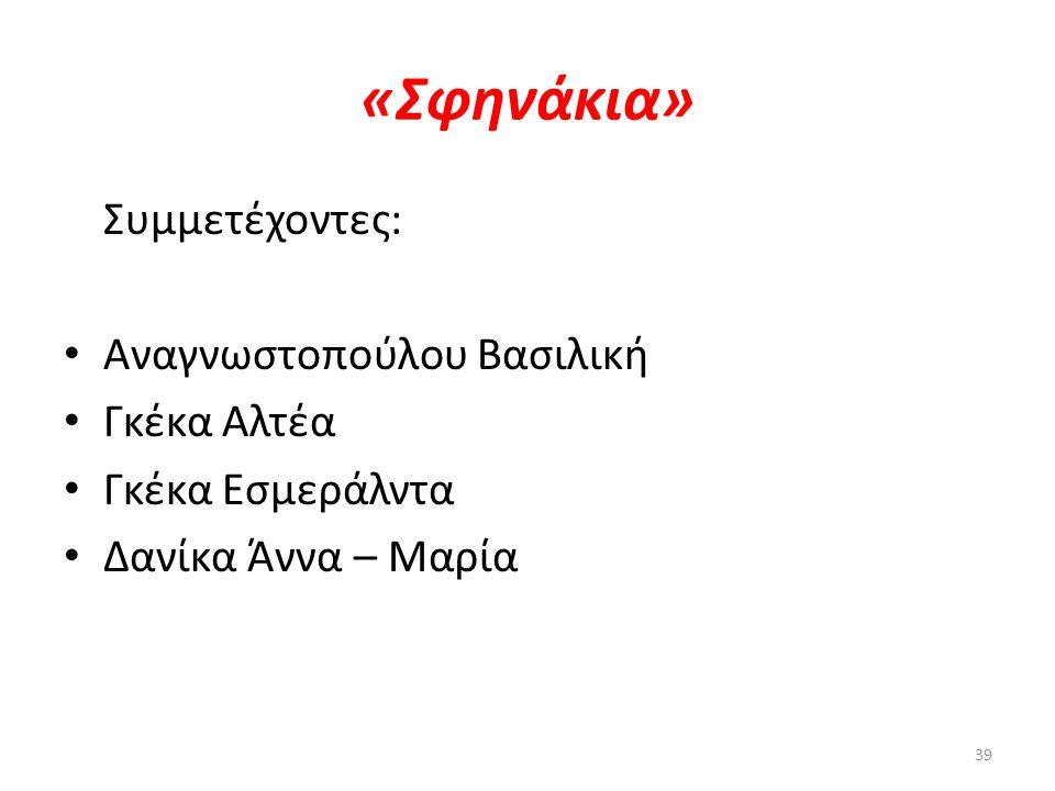 «Σφηνάκια» Συμμετέχοντες: Αναγνωστοπούλου Βασιλική Γκέκα Αλτέα
