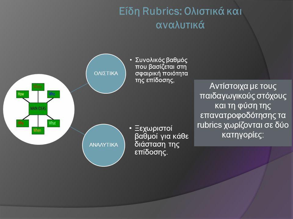 Είδη Rubrics: Ολιστικά και αναλυτικά