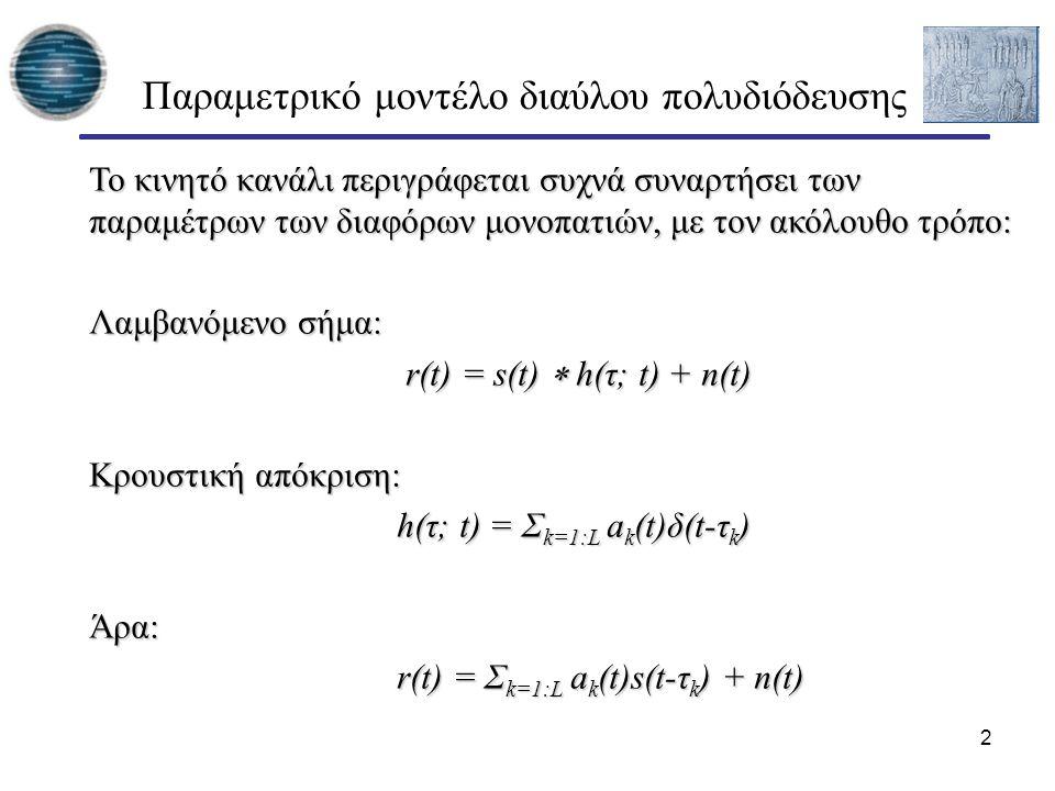 Παραμετρικό μοντέλο διαύλου πολυδιόδευσης