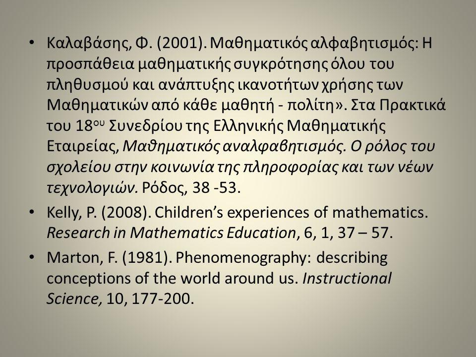 Καλαβάσης, Φ. (2001). Μαθηματικός αλφαβητισμός: Η προσπάθεια μαθηματικής συγκρότησης όλου του πληθυσμού και ανάπτυξης ικανοτήτων χρήσης των Μαθηματικών από κάθε μαθητή - πολίτη». Στα Πρακτικά του 18ου Συνεδρίου της Ελληνικής Μαθηματικής Εταιρείας, Μαθηματικός αναλφαβητισμός. Ο ρόλος του σχολείου στην κοινωνία της πληροφορίας και των νέων τεχνολογιών. Ρόδος, 38 -53.