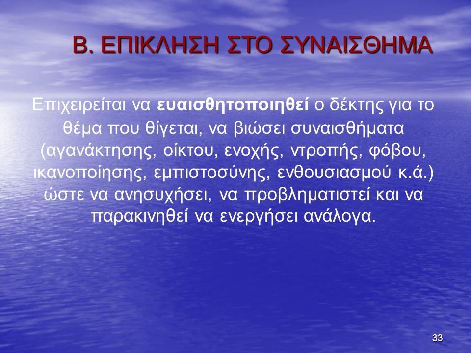 Β. ΕΠΙΚΛΗΣΗ ΣΤΟ ΣΥΝΑΙΣΘΗΜΑ