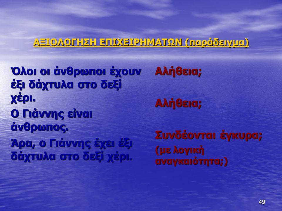 ΑΞΙΟΛΟΓΗΣΗ ΕΠΙΧΕΙΡΗΜΑΤΩΝ (παράδειγμα)