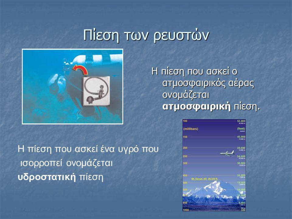 Πίεση των ρευστών Η πίεση που ασκεί ο ατμοσφαιρικός αέρας ονομάζεται ατμοσφαιρική πίεση. Η πίεση που ασκεί ένα υγρό που.
