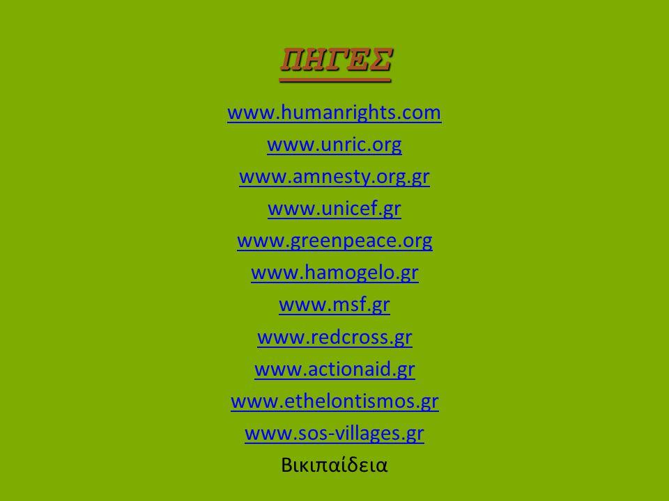 ΠΗΓΕΣ www.humanrights.com www.unric.org www.amnesty.org.gr
