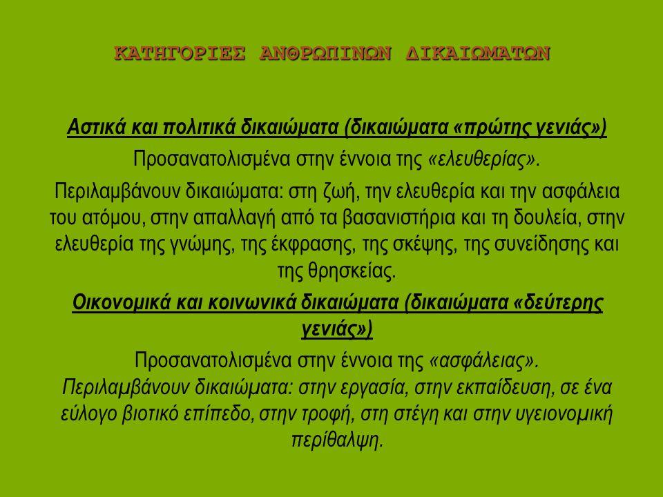 ΚΑΤΗΓΟΡΙΕΣ ΑΝΘΡΩΠΙΝΩΝ ΔΙΚΑΙΩΜΑΤΩΝ