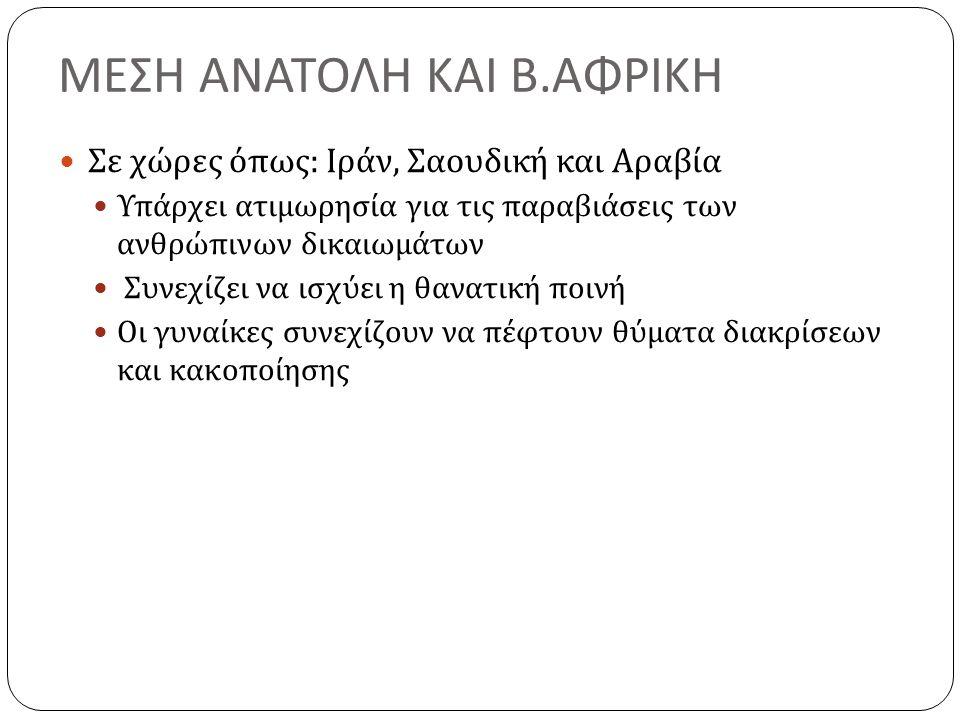 ΜΕΣΗ ΑΝΑΤΟΛΗ ΚΑΙ Β.ΑΦΡΙΚΗ