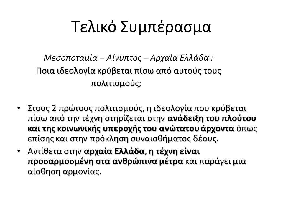 Τελικό Συμπέρασμα Μεσοποταμία – Αίγυπτος – Αρχαία Ελλάδα :