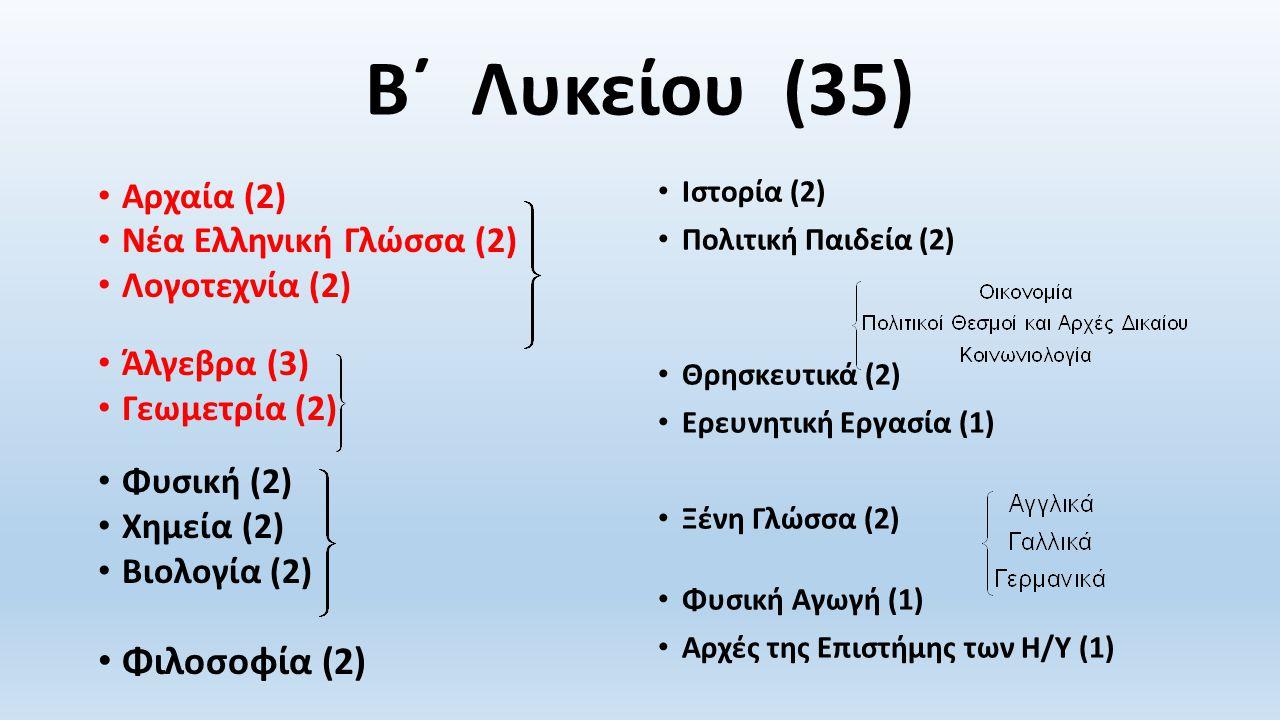 Β΄ Λυκείου (35) Φιλοσοφία (2) Αρχαία (2) Νέα Ελληνική Γλώσσα (2)
