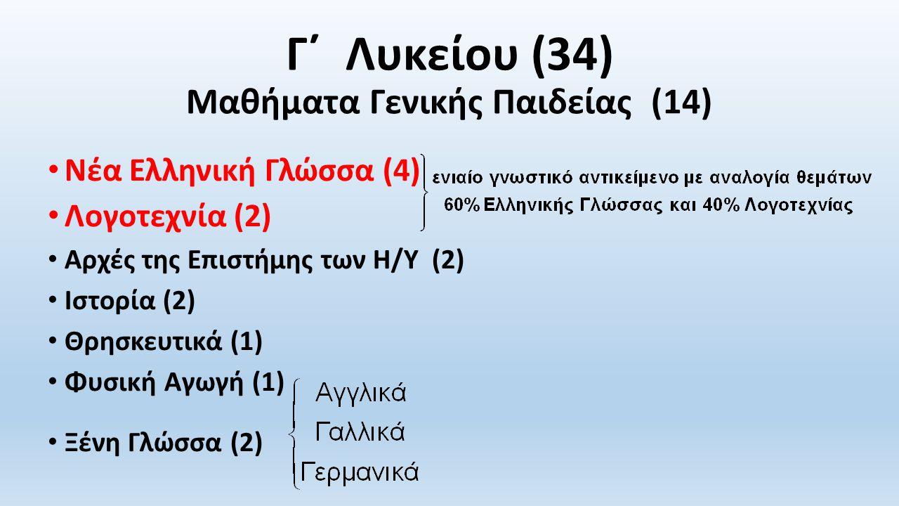 Γ΄ Λυκείου (34) Μαθήματα Γενικής Παιδείας (14)