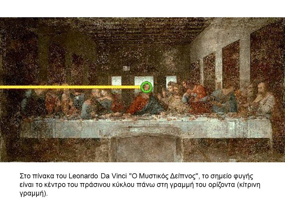 Στο πίνακα του Leonardo Da Vinci Ο Μυστικός Δείπνος , το σημείο φυγής είναι το κέντρο του πράσινου κύκλου πάνω στη γραμμή του ορίζοντα (κίτρινη γραμμή).