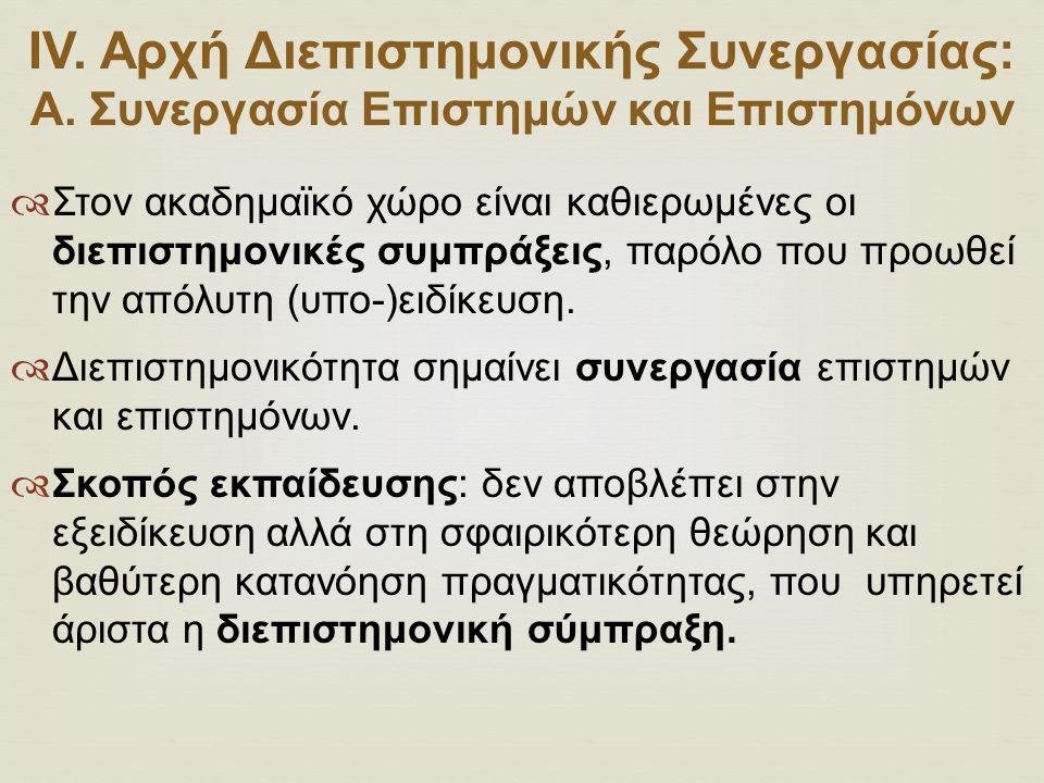 ΙV. Αρχή Διεπιστημονικής Συνεργασίας: Α