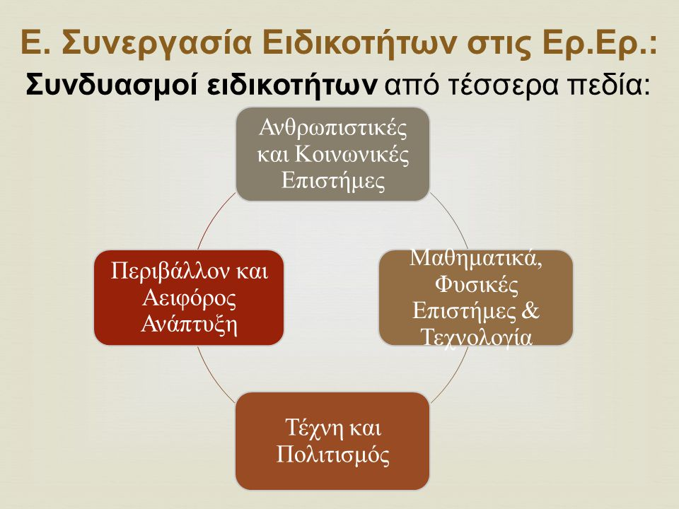 Ε. Συνεργασία Ειδικοτήτων στις Ερ.Ερ.: