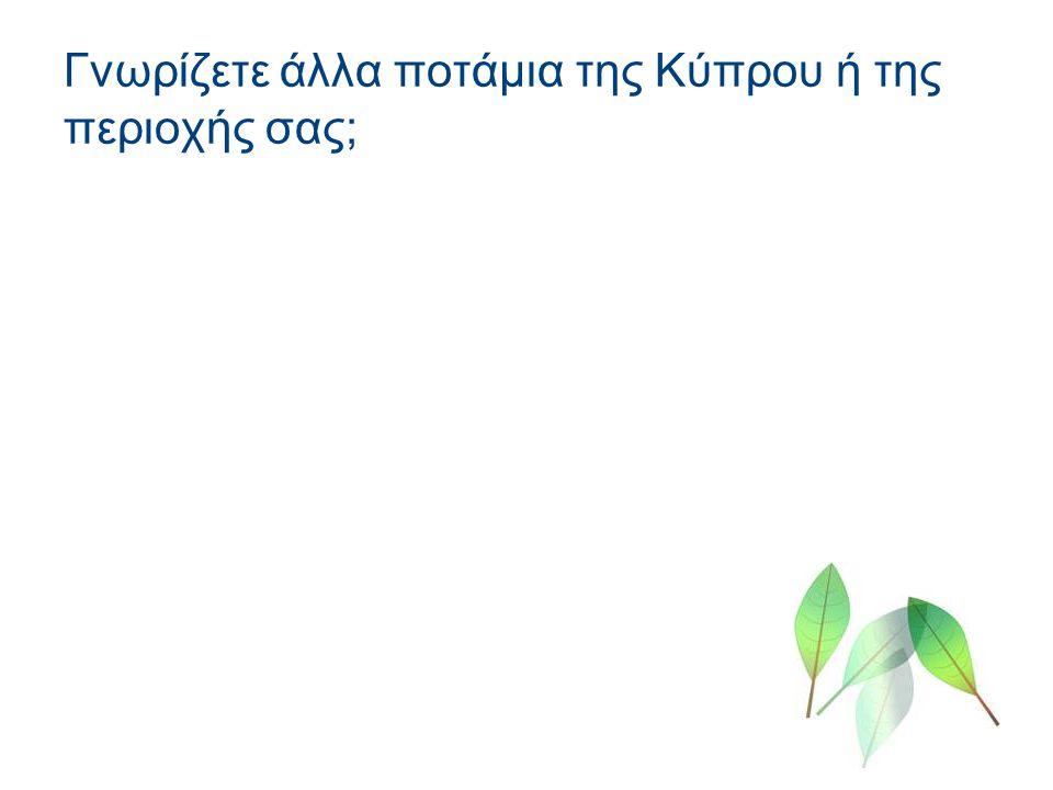 Γνωρίζετε άλλα ποτάμια της Κύπρου ή της περιοχής σας;