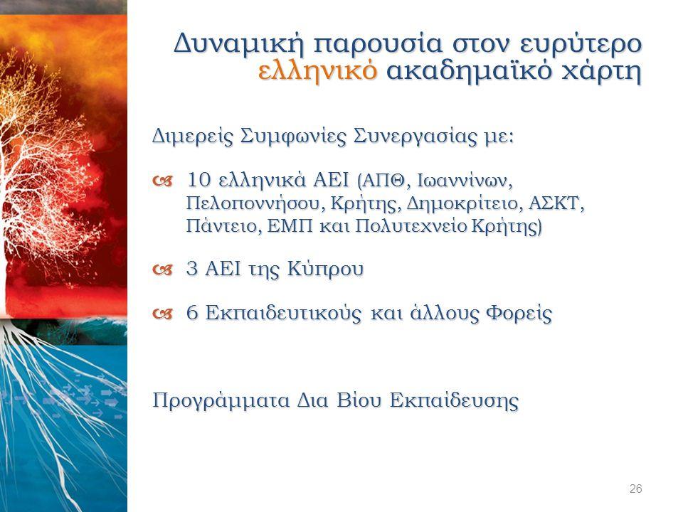 Δυναμική παρουσία στον ευρύτερο ελληνικό ακαδημαϊκό χάρτη