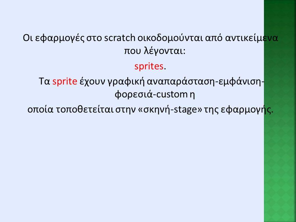 Οι εφαρμογές στο scratch οικοδομούνται από αντικείμενα που λέγονται: sprites.