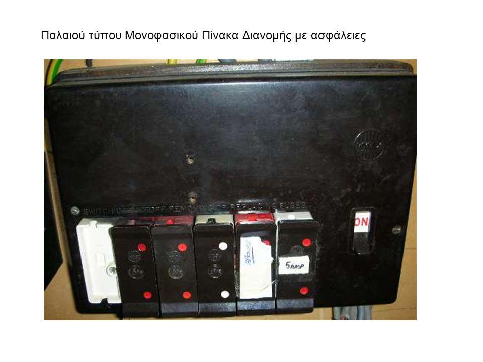 Παλαιού τύπου Μονοφασικού Πίνακα Διανομής με ασφάλειες