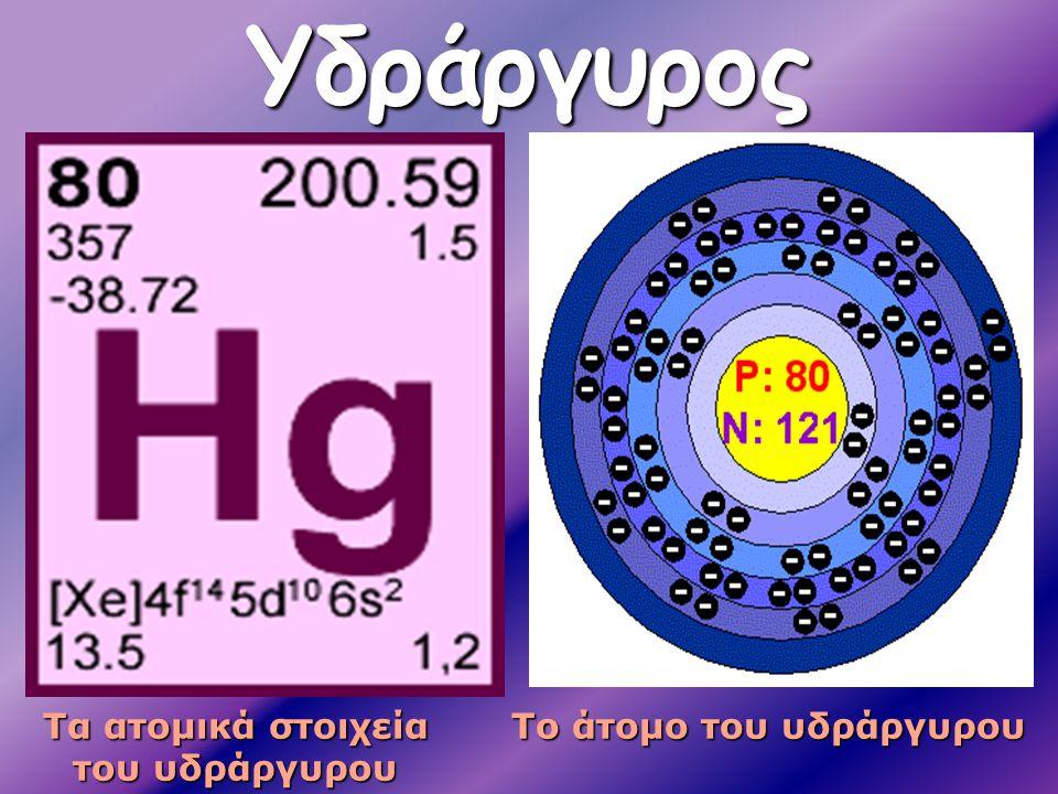 Τα ατομικά στοιχεία του υδράργυρου Το άτομο του υδράργυρου