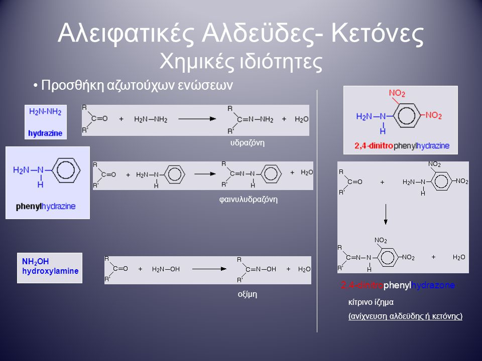 Αλειφατικές Αλδεϋδες- Κετόνες Χημικές ιδιότητες