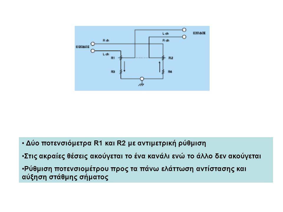Δύο ποτενσιόμετρα R1 και R2 με αντιμετρική ρύθμιση