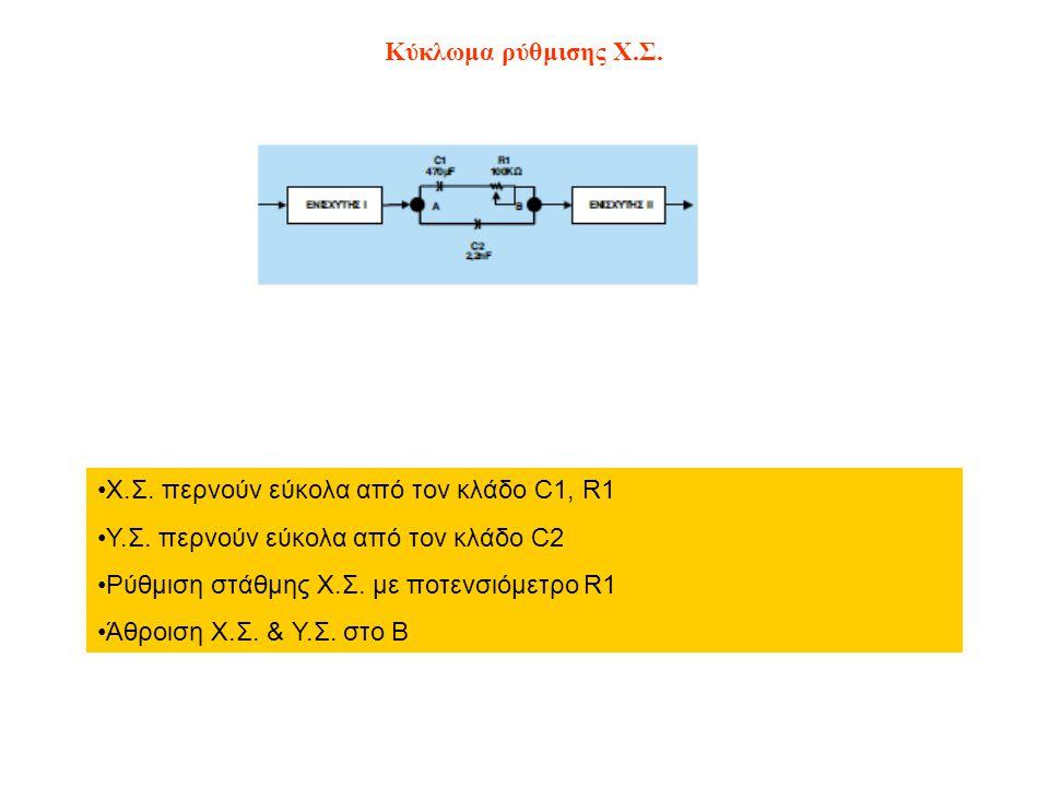 Κύκλωμα ρύθμισης Χ.Σ. Χ.Σ. περνούν εύκολα από τον κλάδο C1, R1. Υ.Σ. περνούν εύκολα από τον κλάδο C2.