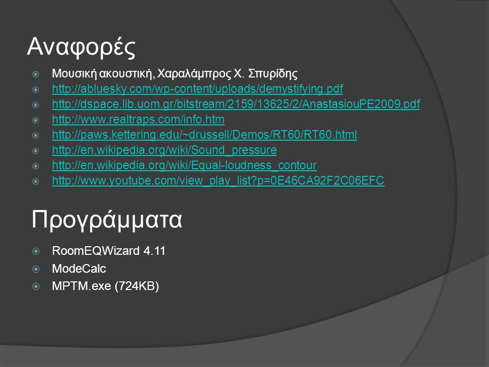 Αναφορές Προγράμματα RoomEQWizard 4.11 ModeCalc MPTM.exe (724ΚΒ)