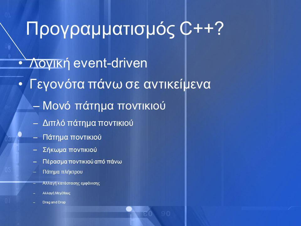 Προγραμματισμός C++ Λογική event-driven Γεγονότα πάνω σε αντικείμενα