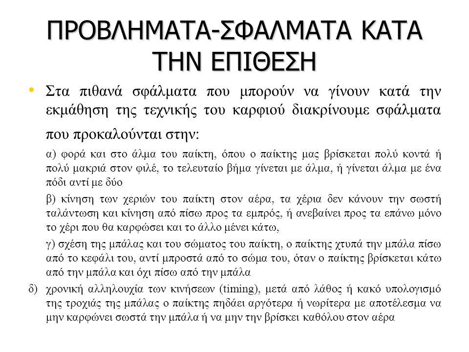 ΠΡΟΒΛΗΜΑΤΑ-ΣΦΑΛΜΑΤΑ ΚΑΤΑ ΤΗΝ ΕΠΙΘΕΣΗ