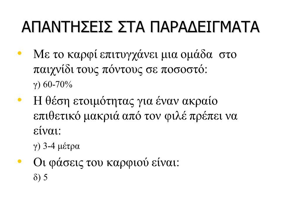 ΑΠΑΝΤΗΣΕΙΣ ΣΤΑ ΠΑΡΑΔΕΙΓΜΑΤΑ