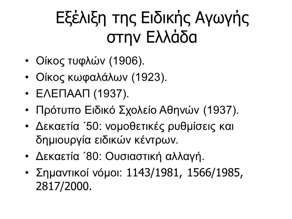 Εξέλιξη της Ειδικής Αγωγής στην Ελλάδα