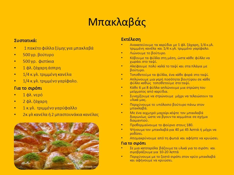Μπακλαβάς Συστατικά: 1 πακέτο φύλλα ζύμης για μπακλαβά Για το σιρόπι