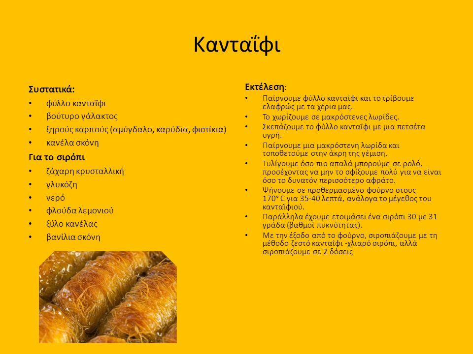 Κανταΐφι Συστατικά: Για το σιρόπι Εκτέλεση: φύλλο κανταΐφι