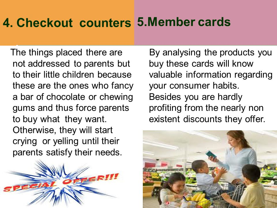 5.Member cards 4. Checkout counters