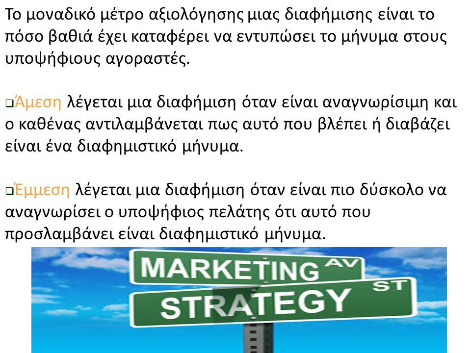 Το μοναδικό μέτρο αξιολόγησης μιας διαφήμισης είναι το