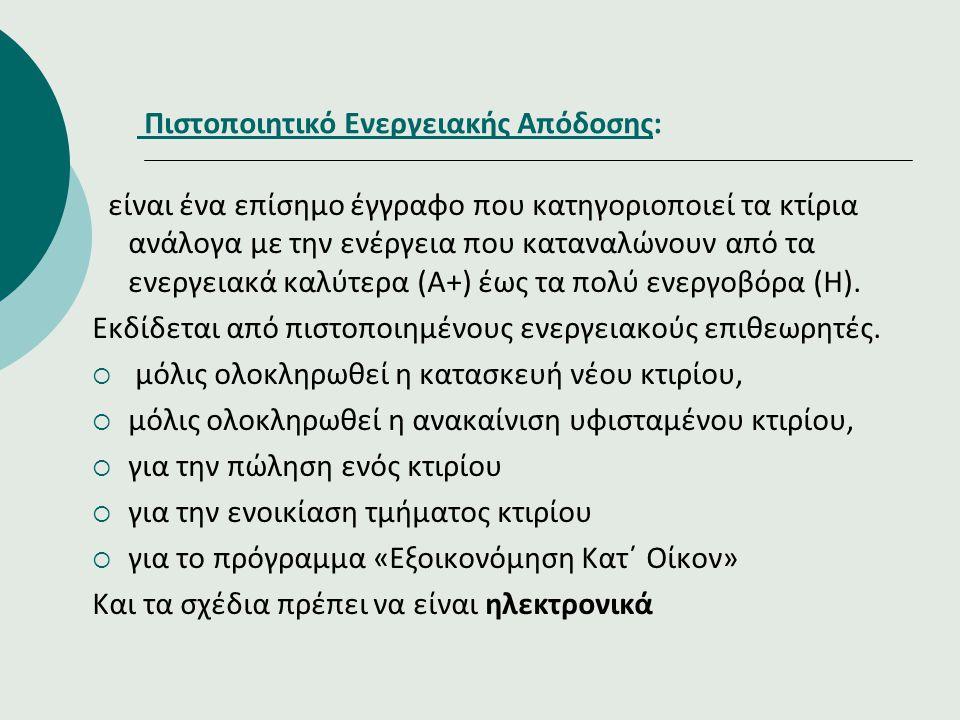 Πιστοποιητικό Ενεργειακής Απόδοσης: