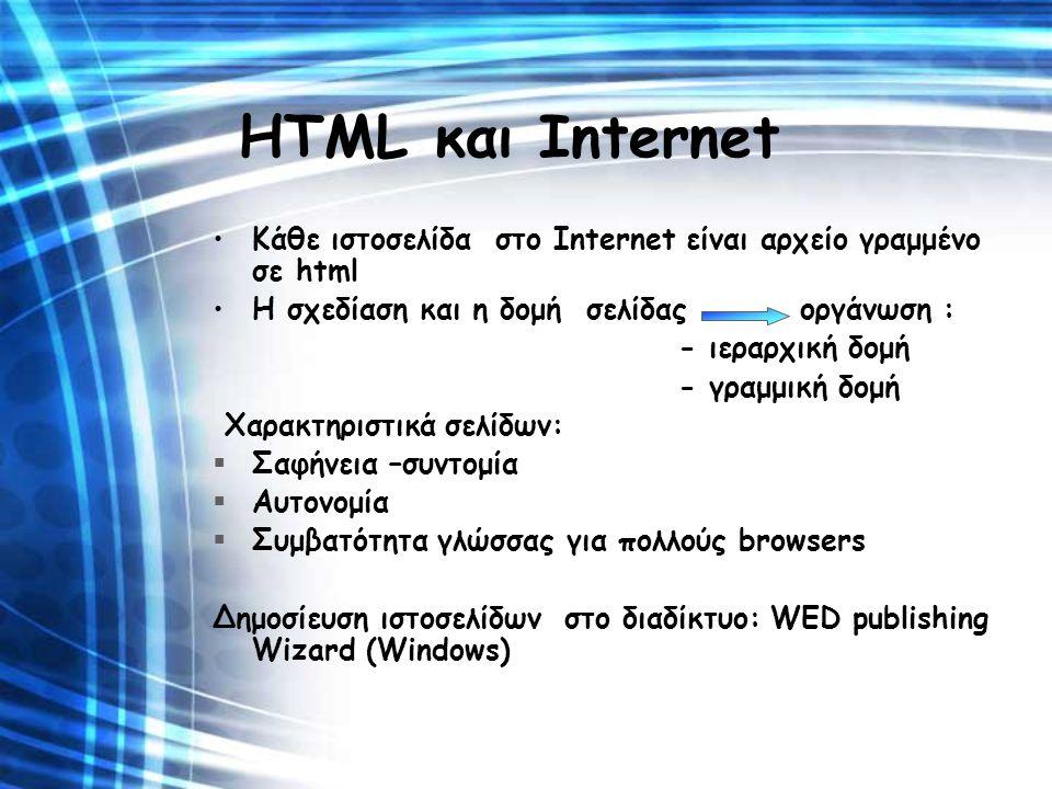 HTML και Internet Κάθε ιστοσελίδα στο Internet είναι αρχείο γραμμένο σε html. Η σχεδίαση και η δομή σελίδας οργάνωση :
