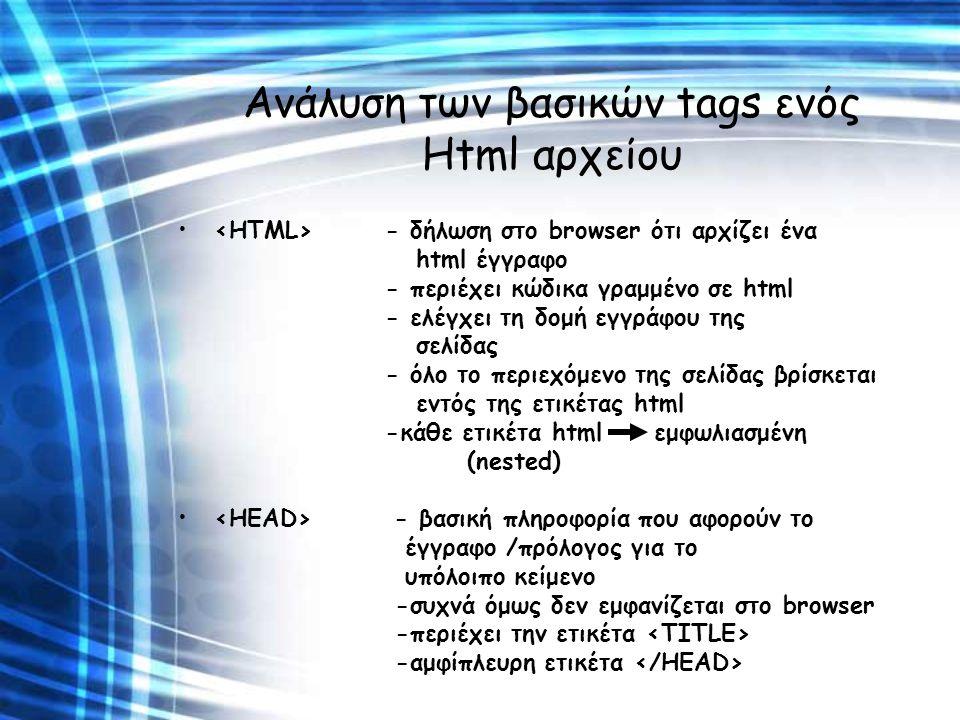 Ανάλυση των βασικών tags ενός Html αρχείου