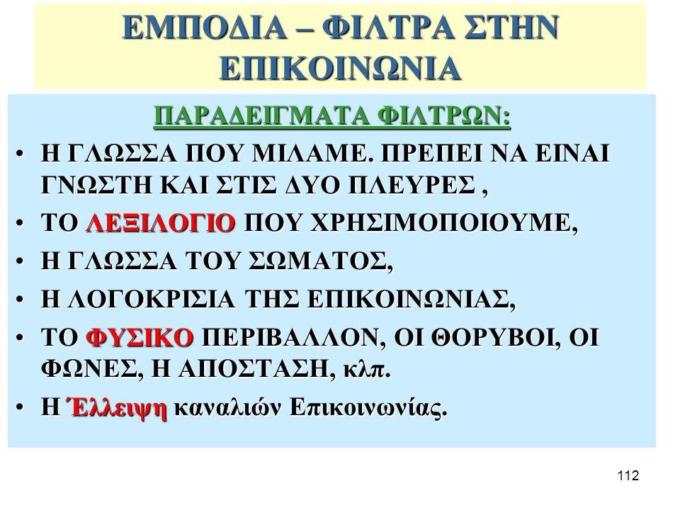 ΕΜΠΟΔΙΑ – ΦΙΛΤΡΑ ΣΤΗΝ ΕΠΙΚΟΙΝΩΝΙΑ