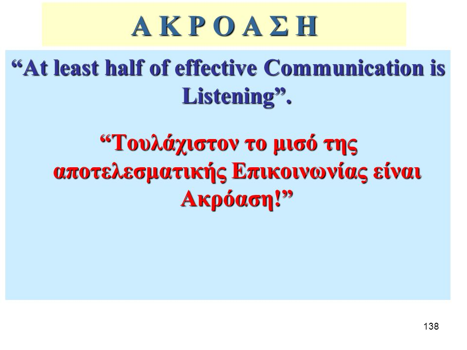 Α Κ Ρ Ο Α Σ Η At least half of effective Communication is Listening .